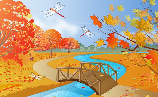 紅葉と秋の空風景が広がる公園 無料背景イラスト10261 素材good