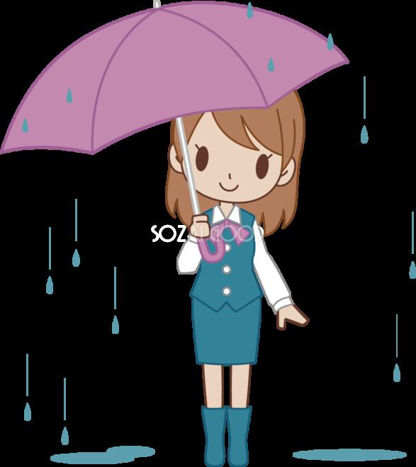 雨の中傘をさすol 無料イラスト 素材good