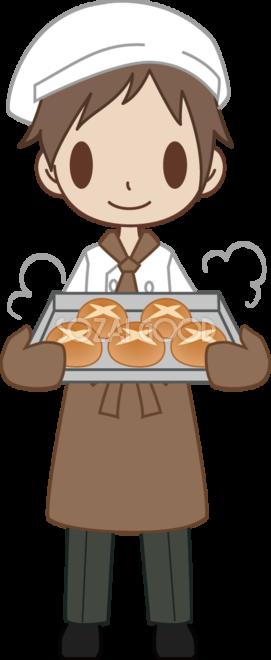 男性のパン屋さん店員がパンを焼く 無料イラスト 素材good