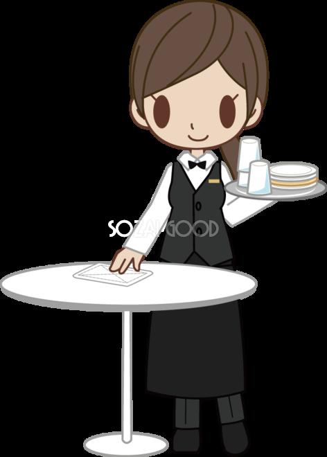 高級料理店のウエイトレス風女性がお皿やグラスを片付け 無料イラスト
