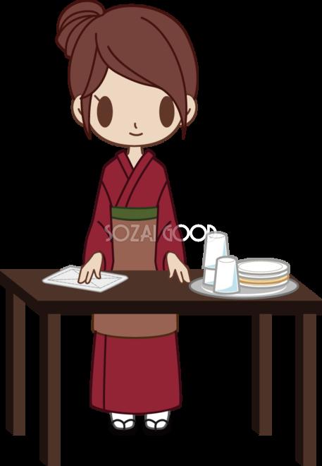 和食屋の女性がお皿やグラスを片付け 無料イラスト 素材good