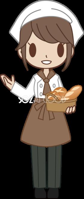 女性のパン屋さん店員がパンを運びながらいらっしゃいませ 無料