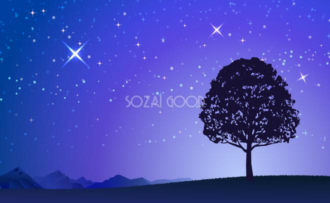 1本の木と神秘的な綺麗な夜空 無料背景 青 ブルー イラスト 素材good