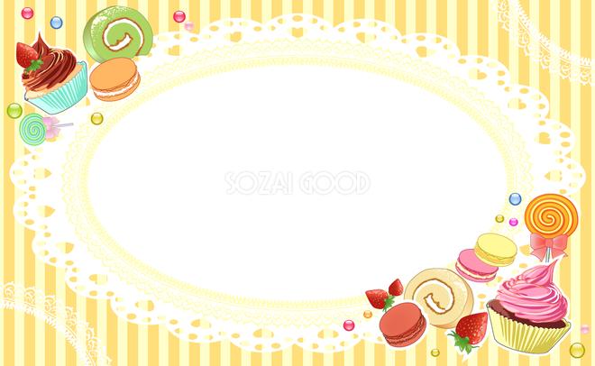 可愛いお菓子の飾り フレーム素材 飾り枠無料背景イラスト 素材good