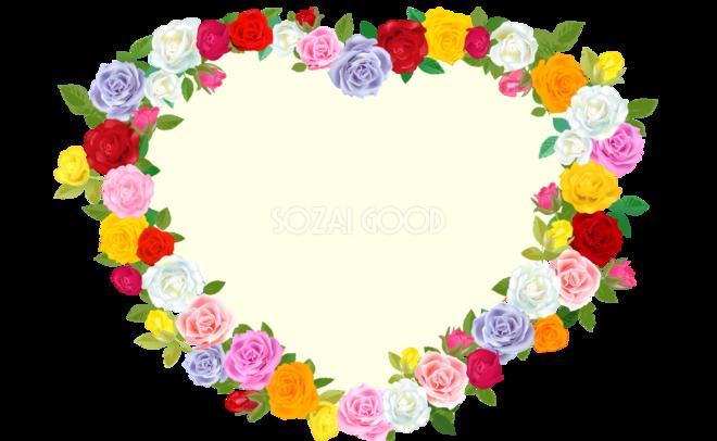 ハート型のバラ飾り フレーム素材 飾り枠無料背景イラスト 素材good