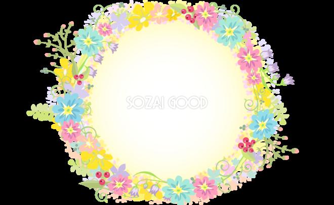 ヨーロピアン風の花飾り フレーム素材 飾り枠無料背景イラスト 素材good
