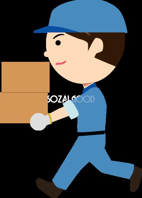 荷物を運ぶ引っ越し業者  無料イラスト