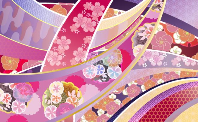 すべての折り紙 折り紙 和風 花 : 着物(和風花柄)ゴージャス系 ...