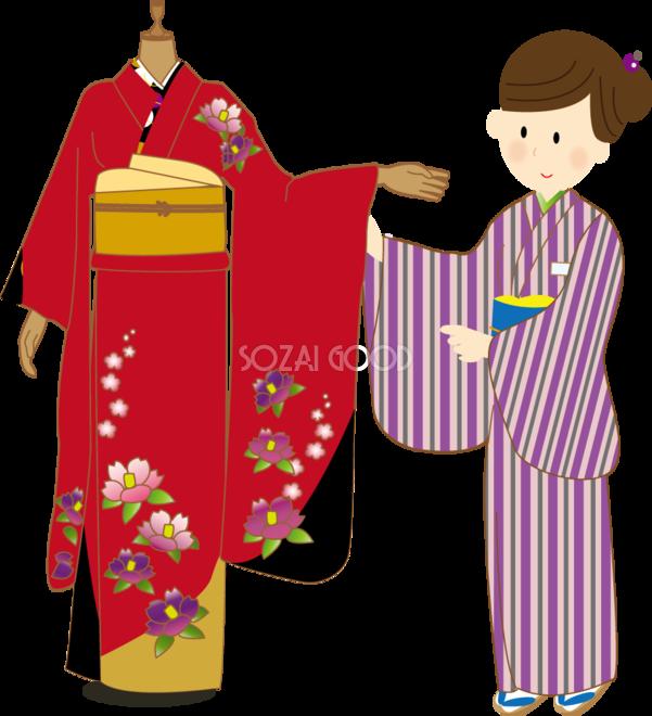 和服をご案内する着物姿の女性店員 無料イラスト 素材good