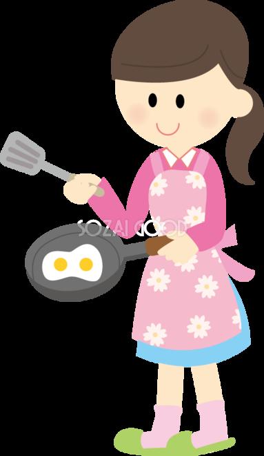 女の子がフライパンで料理 無料イラスト 素材good