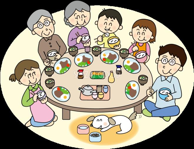 食卓を囲む6人家族 無料イラスト 素材good