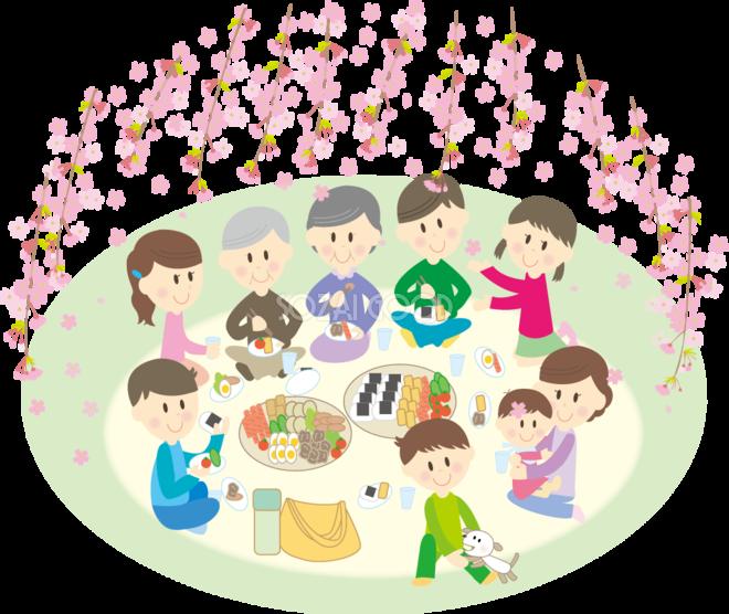 桜を花見をしながら宴会をする9人家族 無料イラスト 素材good