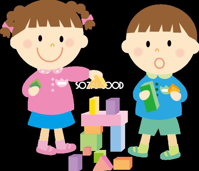 積み木で遊ぶ幼稚園児 無料イラスト 素材good