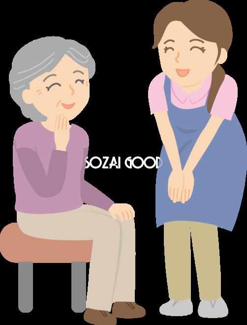 女性介護士 おばあちゃんと会話 無料イラスト 素材good