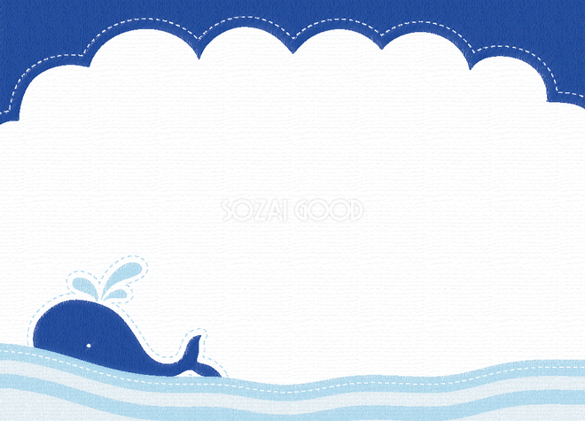 かわいい海波に浮くクジラポップな背景フレームイラスト無料フリー29847