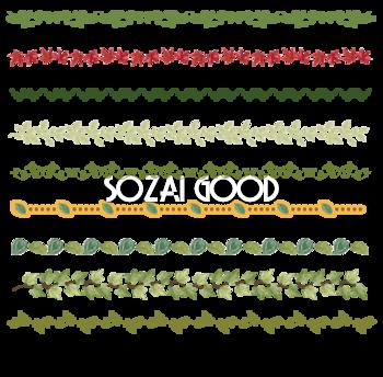 色々な草木のバー フレーム素材 枠 囲み 250 素材good