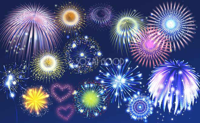 色々な花火素材集 夏祭り背景イラスト無料フリー30300 素材good
