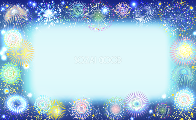 綺麗に囲む花火フレーム枠 夏祭り背景イラスト無料フリー30308 素材good