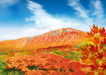 秋の青空と山裾が紅葉している無料背景イラスト