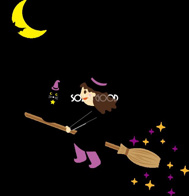 かわいいハロウィン無料イラスト 空飛ぶ魔女と黒猫32783