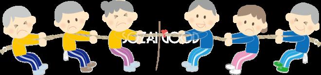 運動会でおじいさん おばあさんが綱引き 秋の無料イラスト 素材good