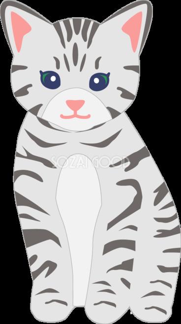 お洒落な猫イラストアメリカンショートヘア 無料 フリー34538