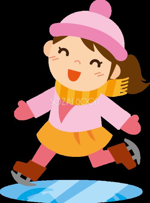 冬 かわいいイラスト 無料 フリー スケートをする女の子34703 素材good