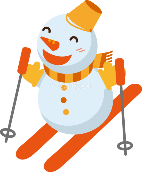 冬 かわいいイラスト 無料 フリースキーをする雪だるま34776 素材good