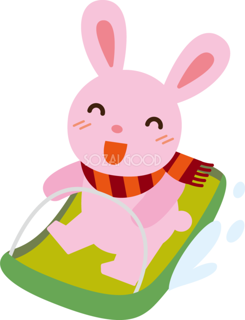 冬 かわいいイラスト 無料 フリーそり遊びをするウサギ34784 素材good