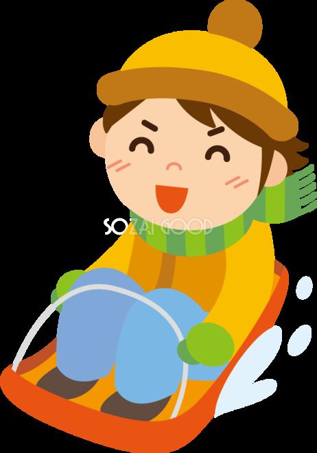 冬 かわいいイラスト 無料 フリーそり遊びをする男の子34800 素材good