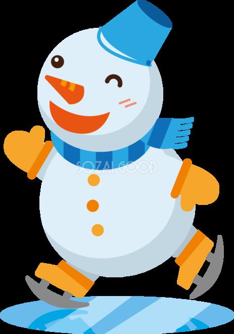 冬 かわいいイラスト 無料 フリースケートをする雪だるま34813