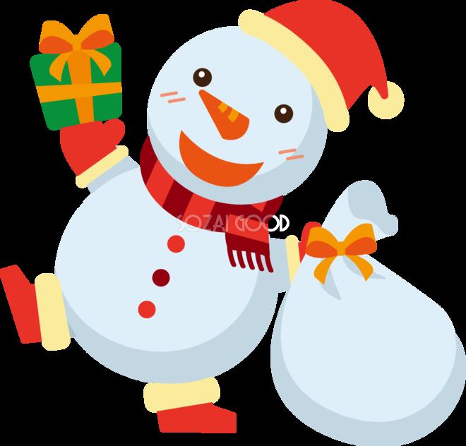 冬 かわいいイラスト 無料 フリー雪だるまのサンタクロース34873