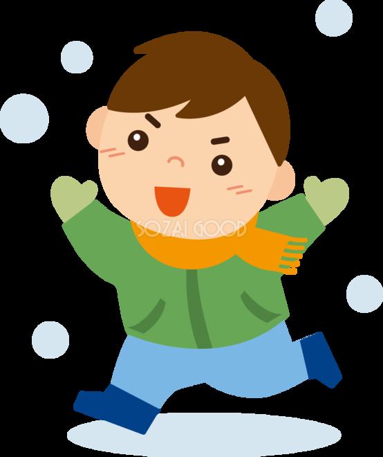 冬 かわいいイラスト 無料 フリー雪の中を走る男の子34889 素材good