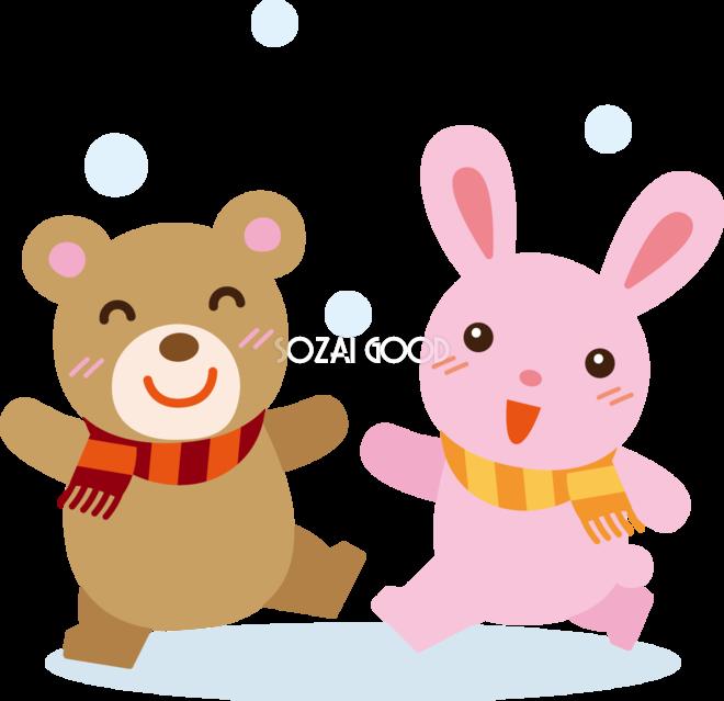 冬 かわいいイラスト 無料 フリー雪を喜ぶ動物たち34894