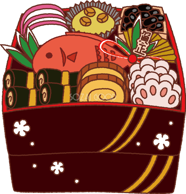 無料イラスト冬 かわいいおせち料理35215