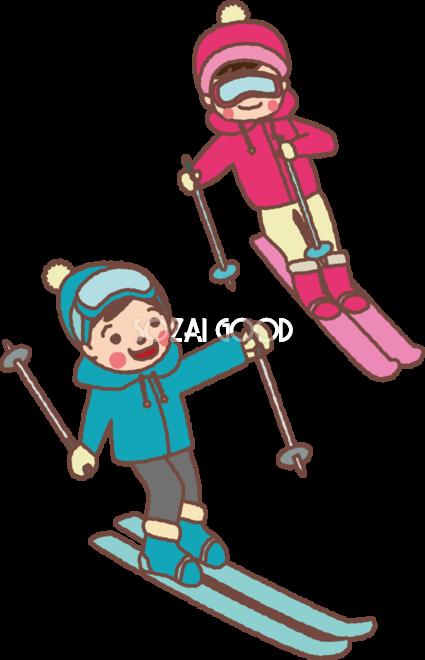 無料イラスト冬 かわいいスキーをする男の子と女の子35231 素材good
