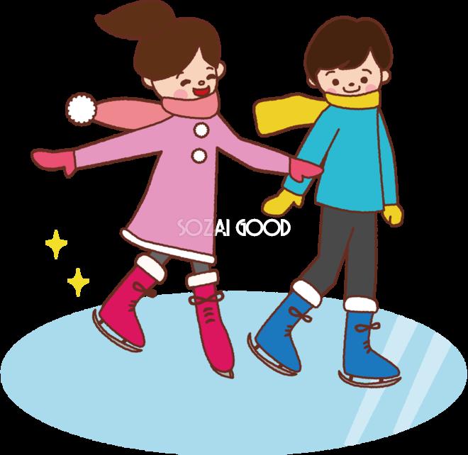 無料イラスト冬 かわいいスケートを滑る男の子と女の子35235 素材good