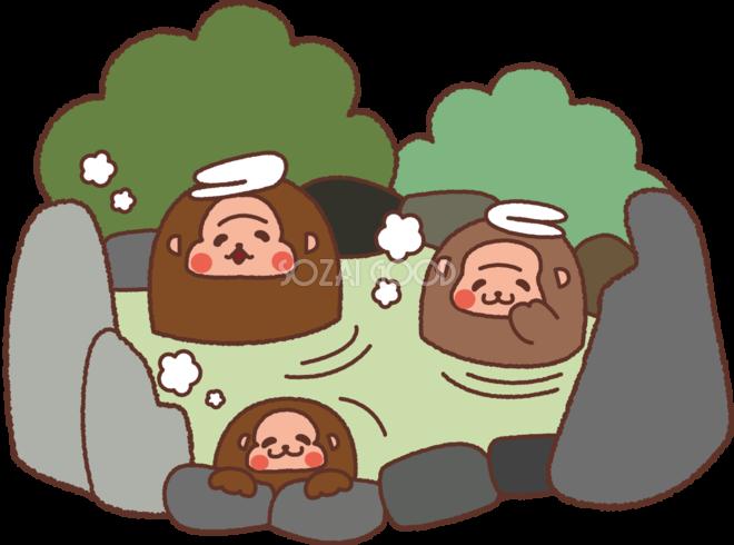 無料イラスト冬 かわいい温泉につかる猿の親子35300 素材good