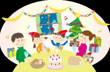 無料イラスト冬 クリスマス 家族でパーティー 素材good