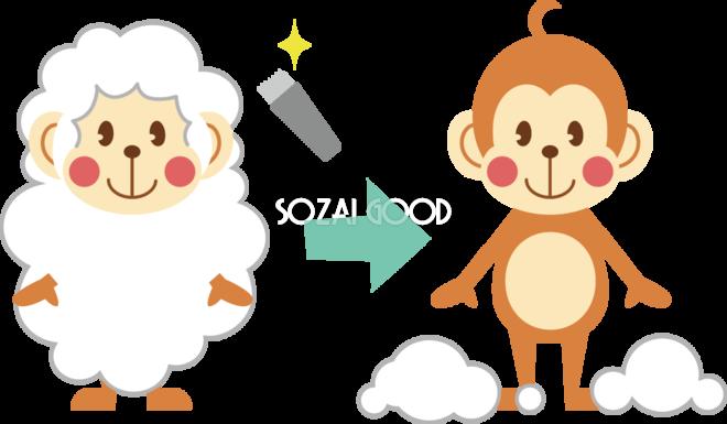 かわいい猿の無料 フリー イラスト年賀状や干支羊の毛をかったら猿