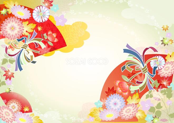紅葉もみじが舞う着物柄の秋の和風背景無料フリーイラスト36211 素材good