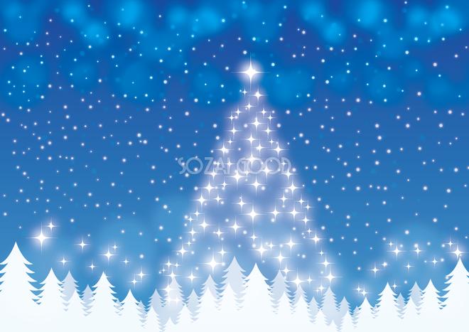 フリー背景イラスト冬「光のクリスマスツリー」36523