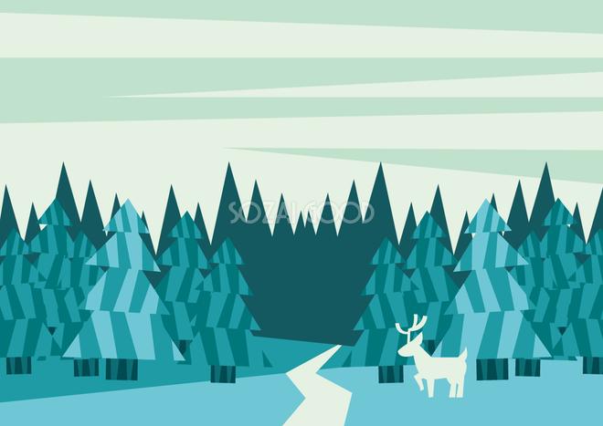 フリー背景イラスト冬冬の森36559 素材good