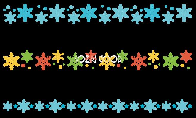 冬のライン無料イラスト雪の結晶37252 素材good