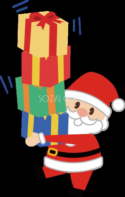 12月クリスマスイラストかわいい プレゼントを抱えるサンタ 素材good