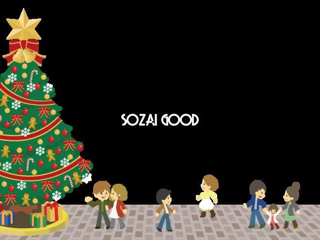 12月クリスマス背景イラスト 街角のクリスマスツリー 素材good