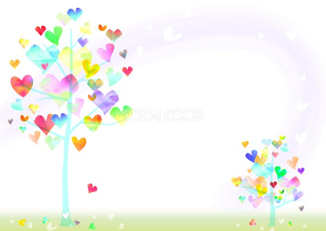 枝いっぱいにかわいいハートを付けた2本の木シンプル背景イラスト37852