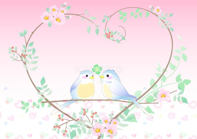 かわいい背景イラスト鳥と木のフレーム37910 素材good