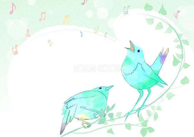 歌う鳥よ音符のおしゃれ綺麗なフレーム無料背景イラスト 素材good