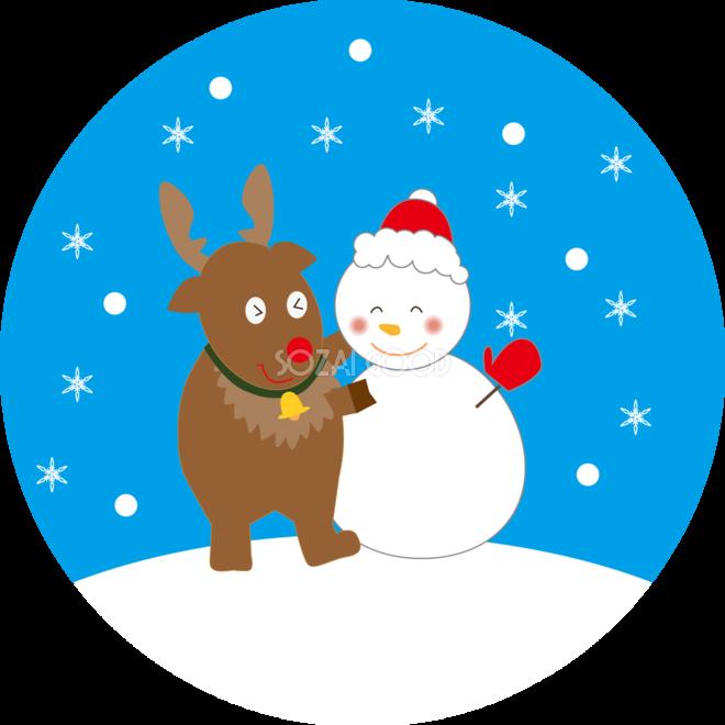 12月かわいい無料イラスト トナカイと雪だるま 304 素材good